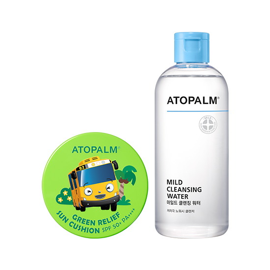 아토팜 그린 릴리프 선쿠션 (SPF50+ PA++++)&마일드 클렌징 워터 세트