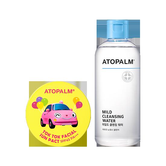 아토팜 톡톡 페이셜 선팩트 (SPF43 PA+++)&마일드 클렌징 워터 세트