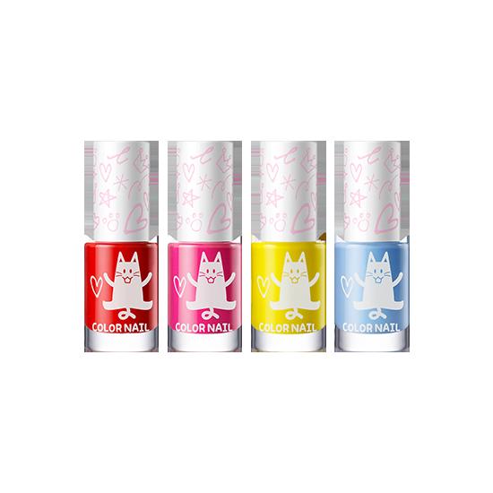 아토팜 키즈 컬러 네일 4종 세트 [레드&핑크&옐로우&파스텔블루]