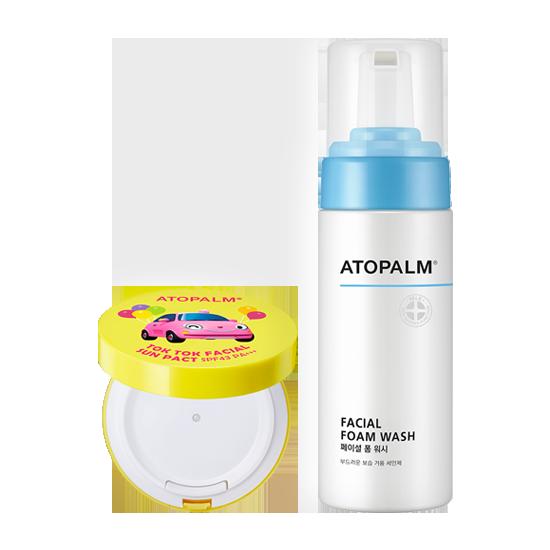 아토팜 톡톡 페이셜 선팩트 (SPF43 PA+++)&페이셜 폼 워시 세트